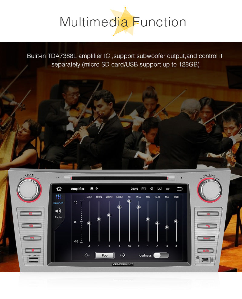 Pumpkin 8 inch Android 8.0 Car Stereo for Toyota Camry, 1024*600 Touchscreen Octa Core with RAM: 4GB & ROM: 32GB Support GPS Navigation 4K / 1080P HD video