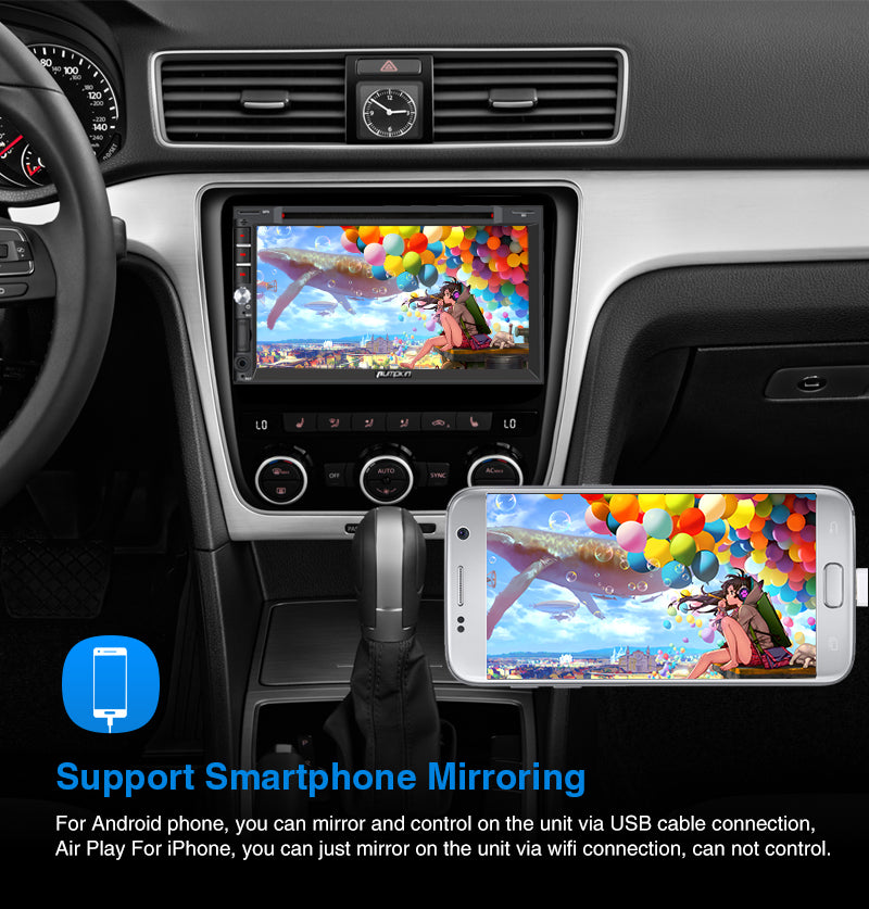 "Pumpkin 6.95"" Touchscreen Octa-Core Android 9.0 Pie Car Stereo DVD Player RAM:2GB/ROM:32GB Support Fast Boot"