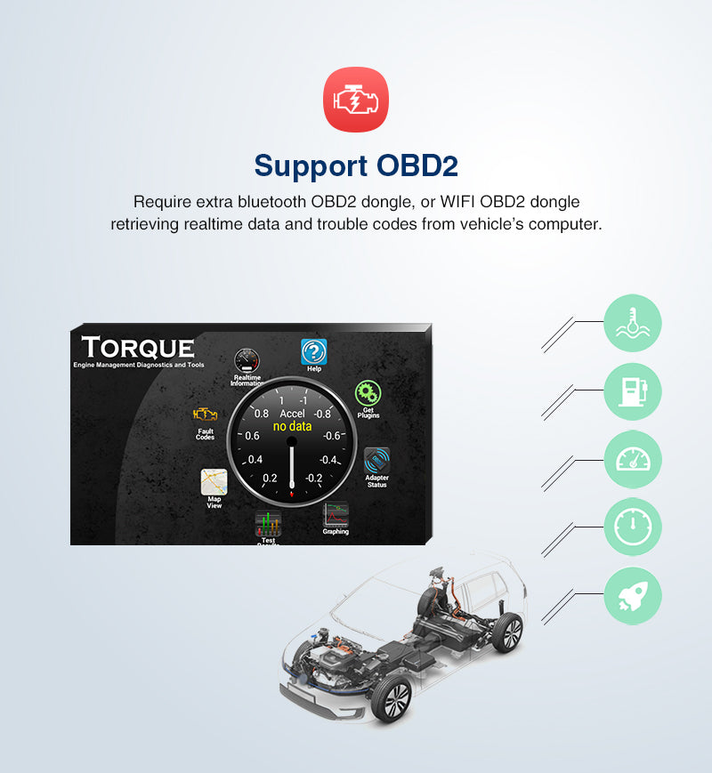 single din android radio with obd