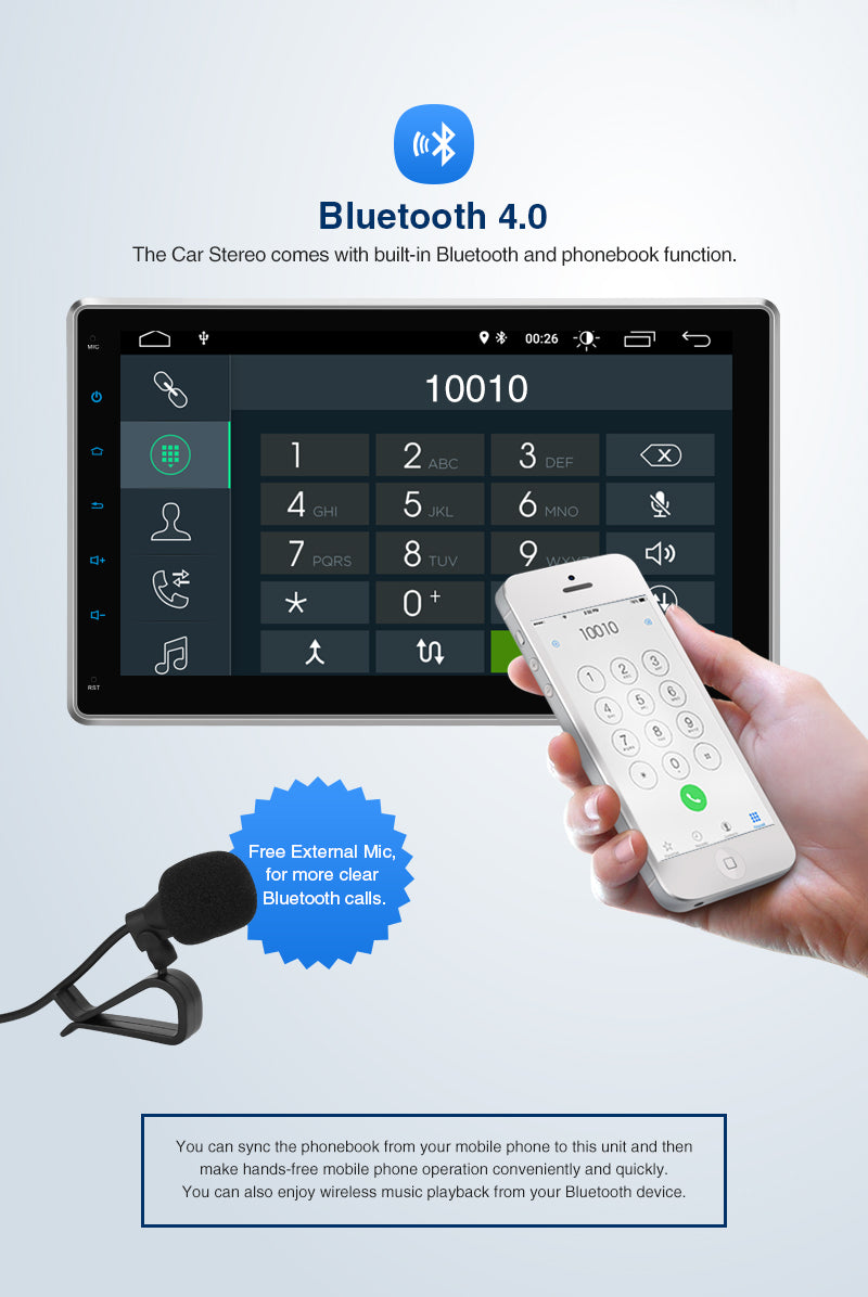 single din bluetooth car stereo android