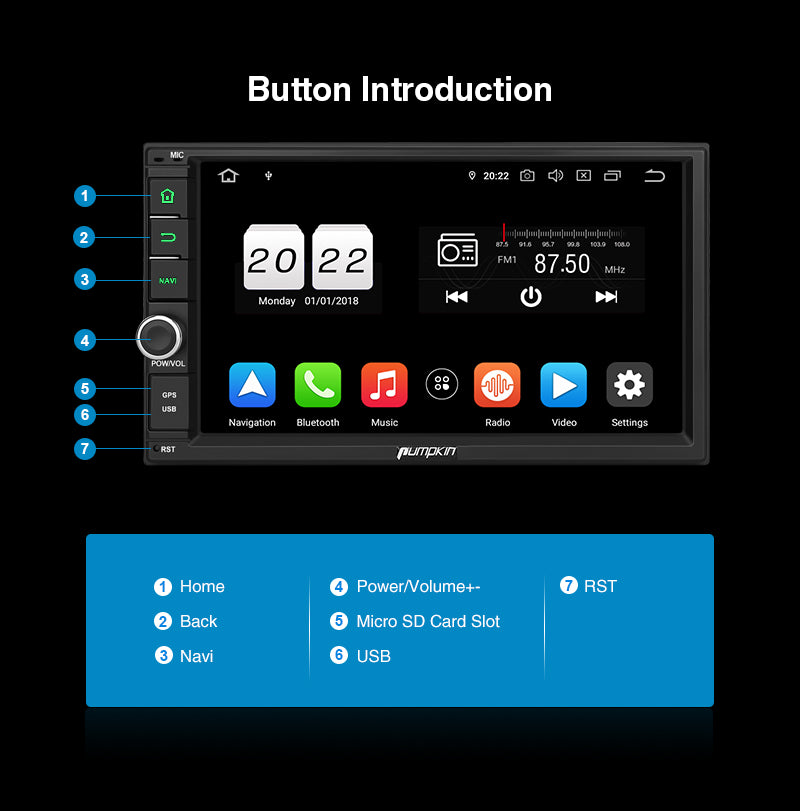 2 din touch screen car stereo