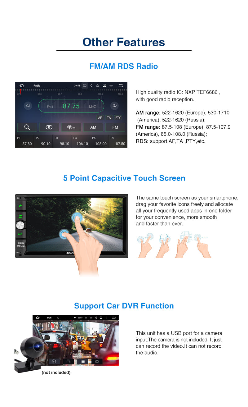 double din android 10 bluetooth car stereo