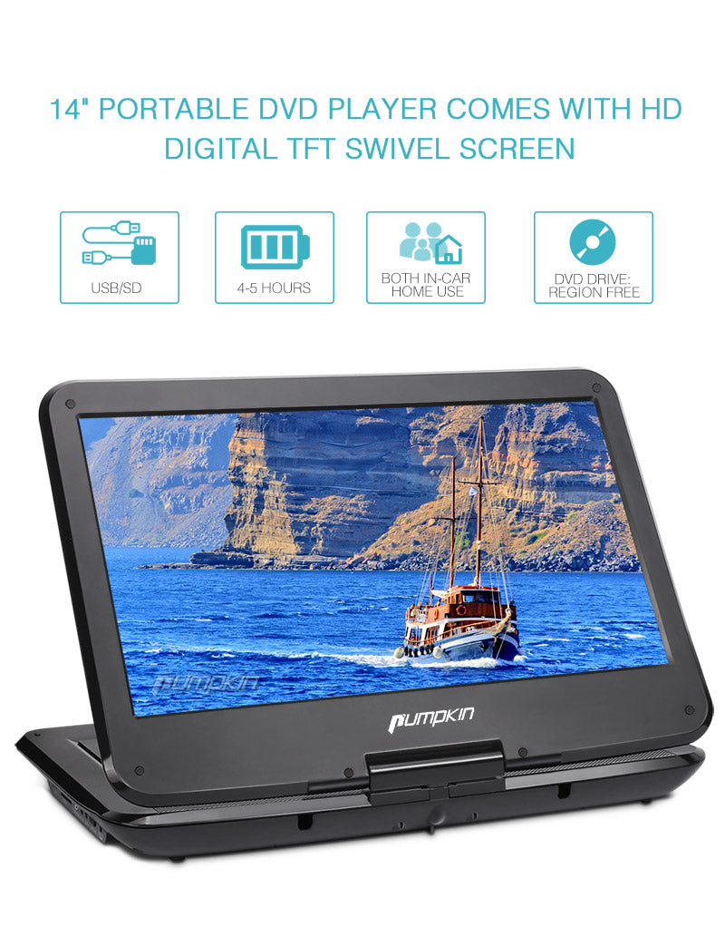 14 inch HD Portable Mobile DVD Player USB/SD Reader with HD 1366x768 Digital TFT 270° Swivel Screen, 5-Hour Built-In Rechargeable Battery, 3m AC/DC Adapter and Carrying Bag
