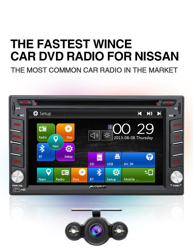 "Pumpkin 2 DIN 6.2"" Nissan Universal Car Stereo DVD Player With Reverse Camera"