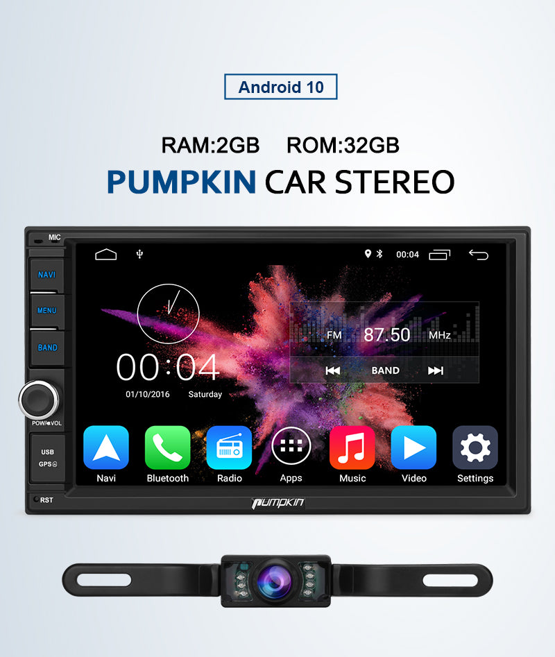 Pumpkin Android 10 Radio Double Din Head Unit with GPS
