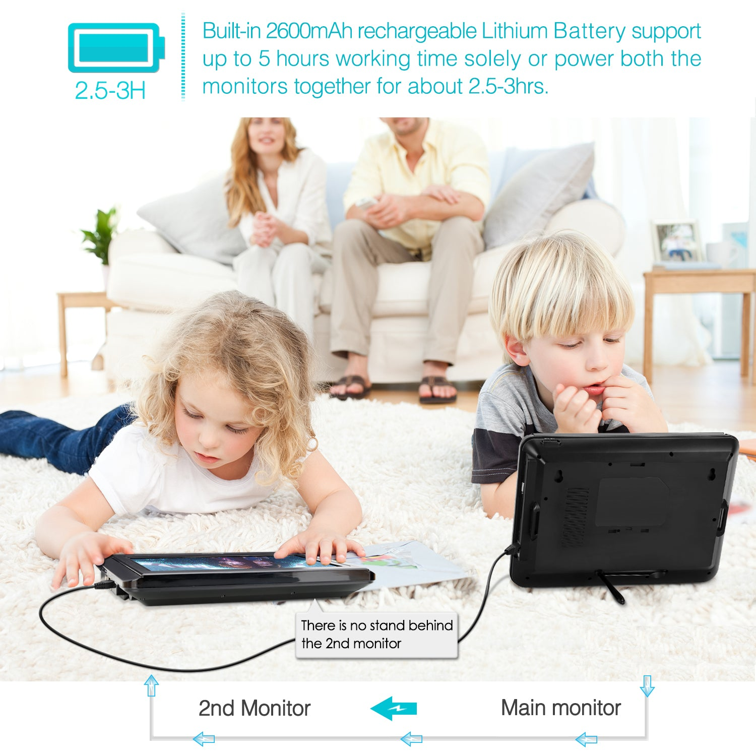 Dual Screen Portable DVD Player for kids