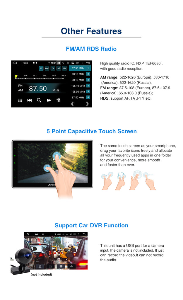 Pumpkin 10.1 Inch Universal Touch Screen Car Radio/Stereo Android 9.0 Double Din :Octa-core , Adjustable Viewing Angle, RAM:4GB + ROM:32GB