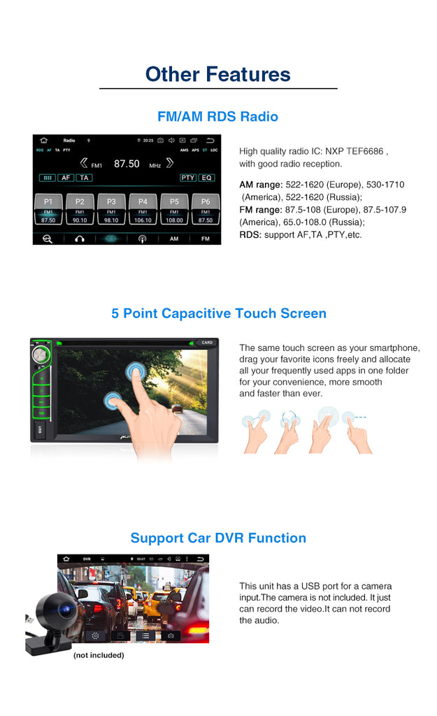 "6.2"" Double Din Touchscreen Octa-Core Universal Android 9.0 Oreo Car Stereo DVD Player Support Fastboot, Backup Camera, USB SD, AUX (4GB+32GB)"