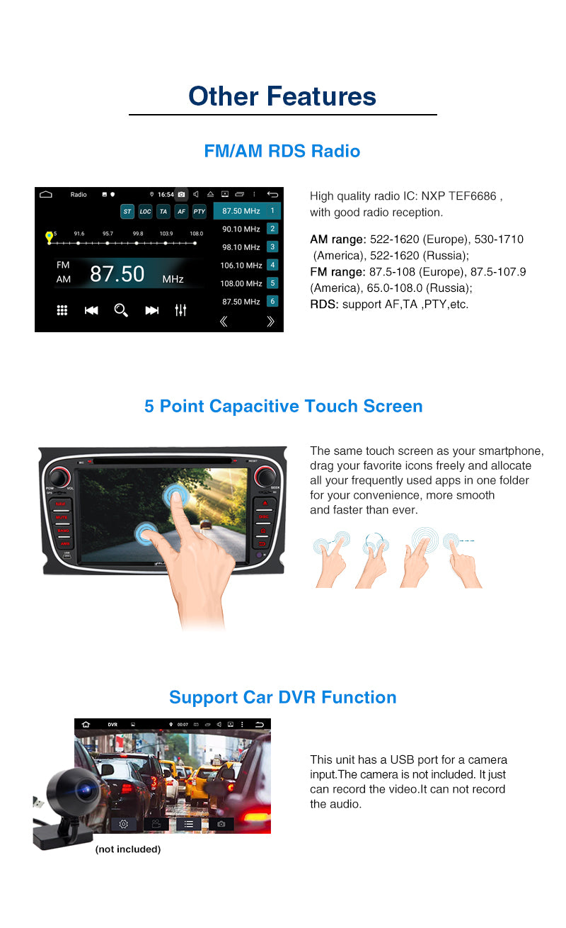 Pumpkin Android 9.0 Car Stereo Ford