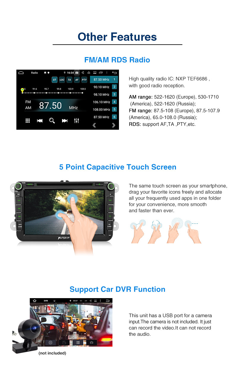 Pumpkin Android 9.0 Car Radio/Stereo for VW Passat Golf Tiguan Polo Jetta Series Octa-Core Double Din 8 inch Touchscreen RAM:4GB + ROM:32GB