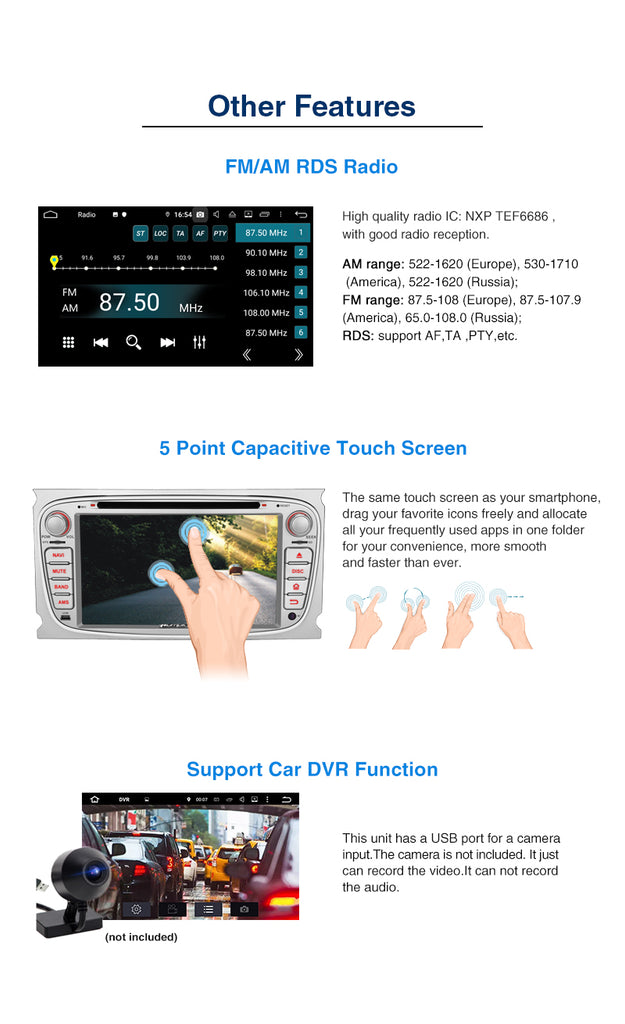 "Pumpkin Octa Core Android 9.0 Car Stereo for Ford Focus/Mondeo/Galaxy/S-max 7"" Touchscreen 1024*600 with RAM:4GB/ROM:32GB (Silver)"