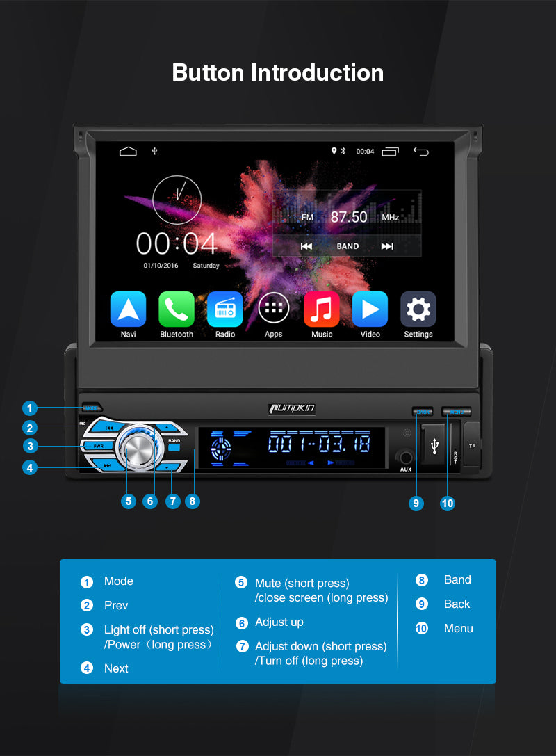 single din touch screen android