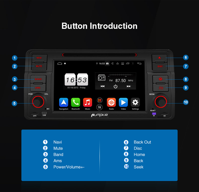 "Pumpkin 7"" Touchscreen for BMW E46 Octa Core Android 9.0 Infotainment System with License Plate reversing camera RAM:4GB ROM:32GB"