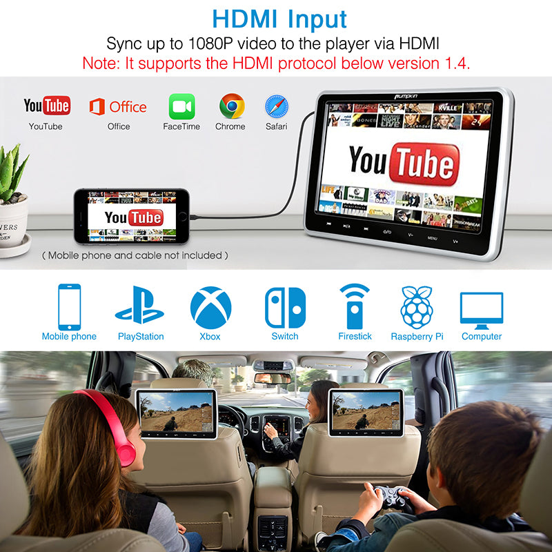 headrest dvd player with hdmi