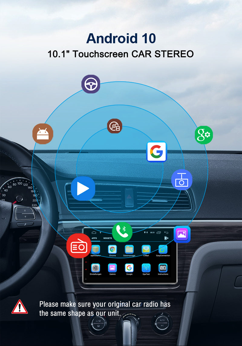 10.1 inch Universal 2 Din Android 10.1 Car Radio/Stereo with Rotatable Touch Screen Support Android Auto CarPlay Bluetooth Navigation With Reverse Camera