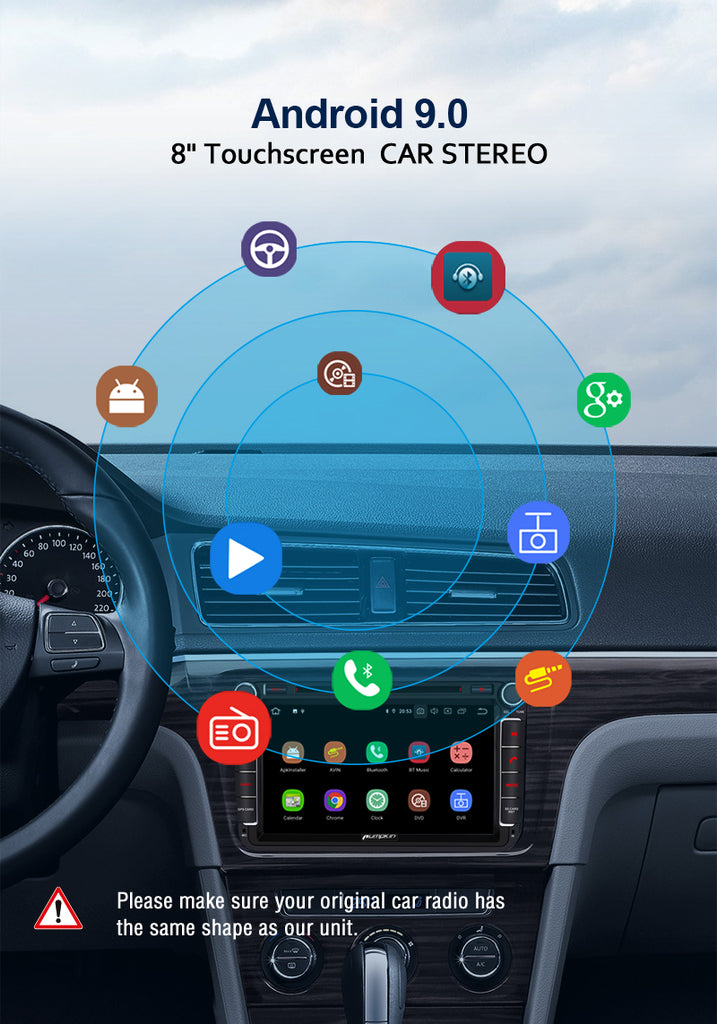 Pumpkin Android 9.0 Pie Octa-Core Car Stereo DVD Player 8inch Touchscreen 1024*600 with RAM:4GB/ROM:32GB for VW Passat Golf Tiguan Polo Jetta Series