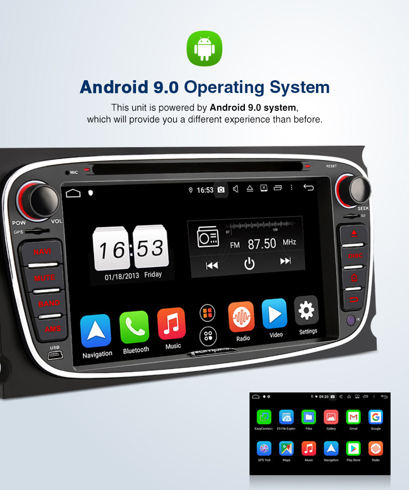 "Pumpkin Octa Core Android 9.0 Car Stereo for Ford Focus/Mondeo/Galaxy/S-max 7"" Touchscreen 1024*600 with RAM:4GB/ROM:32GB (Black)"