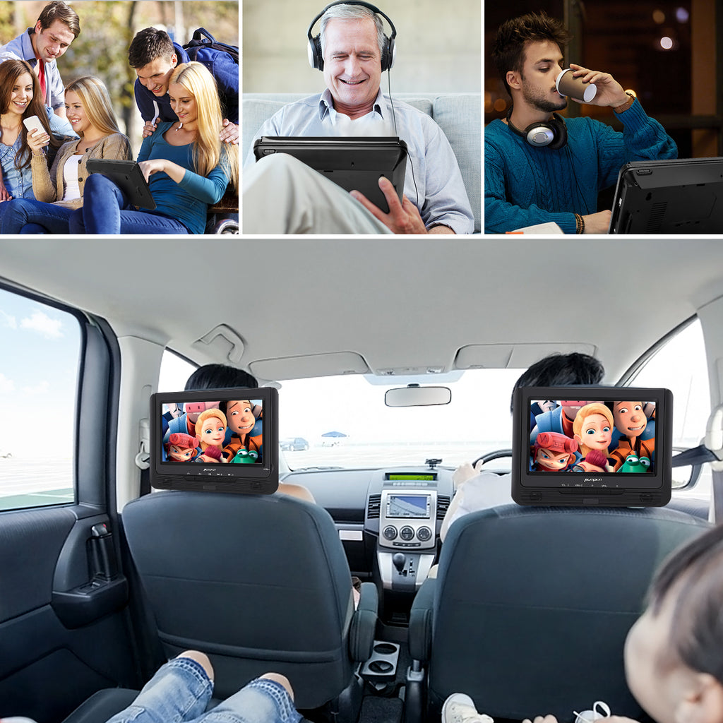 "Pumpkin 9"" Portable DVD Player for Kids Dual Screen with Car Headrest Mount Straps, 5 Hour Rechargeable Battery, USB/SD Card Slot"