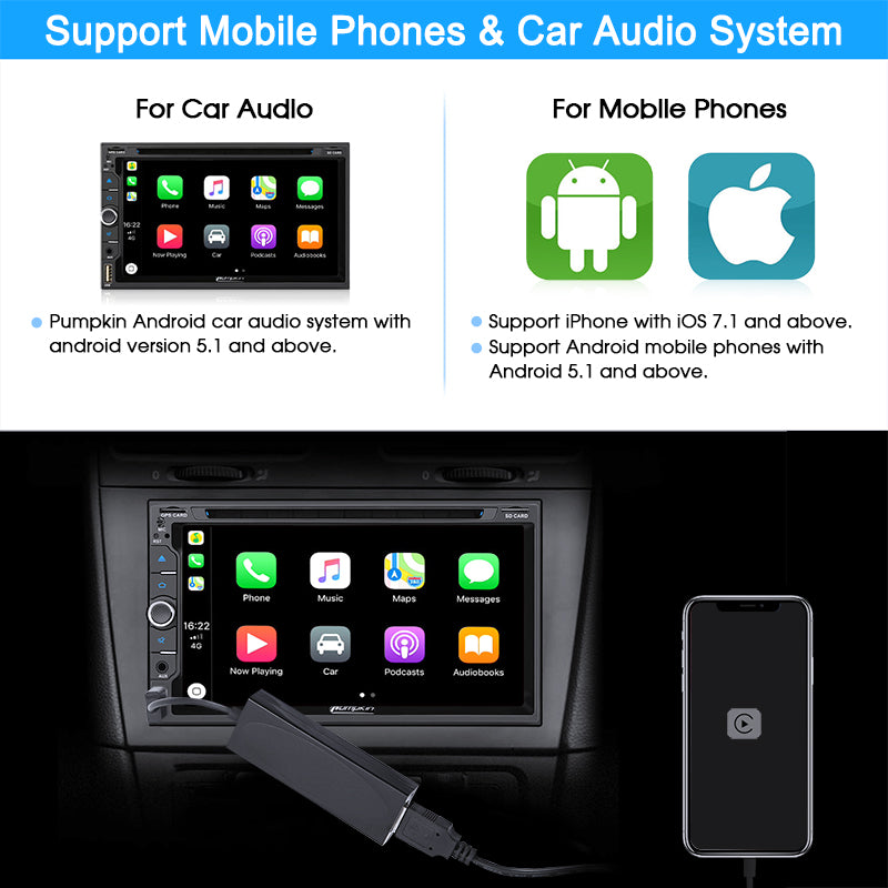 USB AutoPlay Dongle Connect Android Auto PUMPKIN Car Stereos