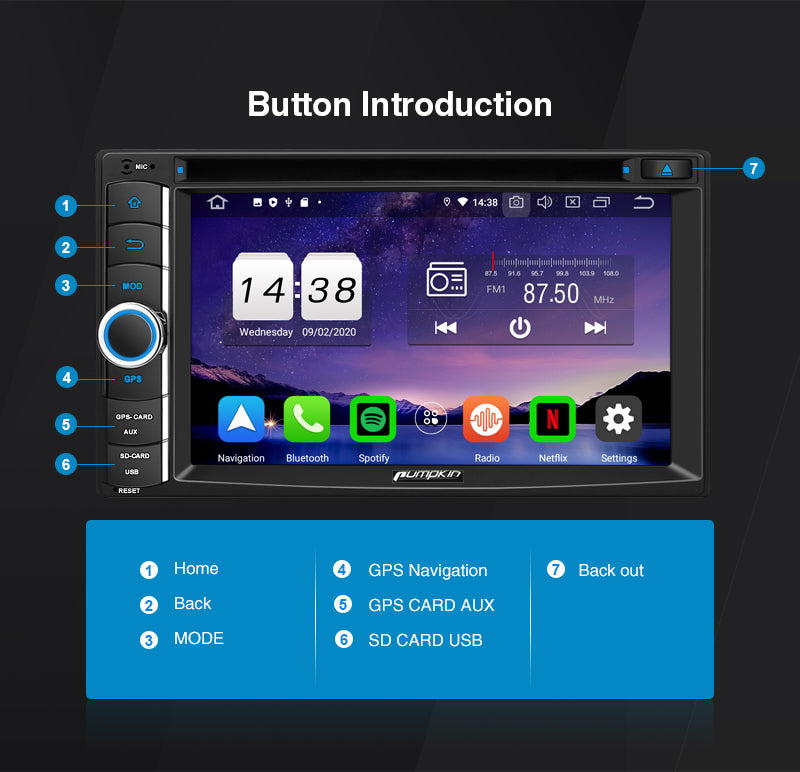 pumpkin 6.2 inch android 10 radio