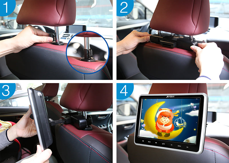 car headrest dvd player with holder