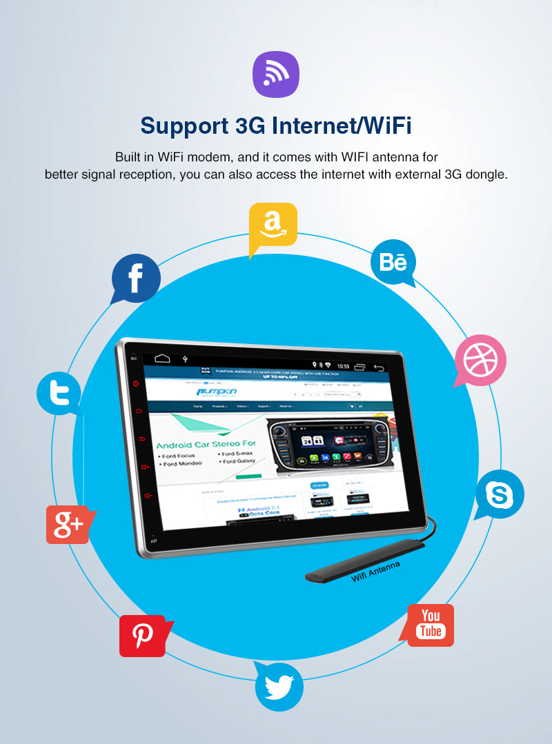 10 inch android single din with wifi