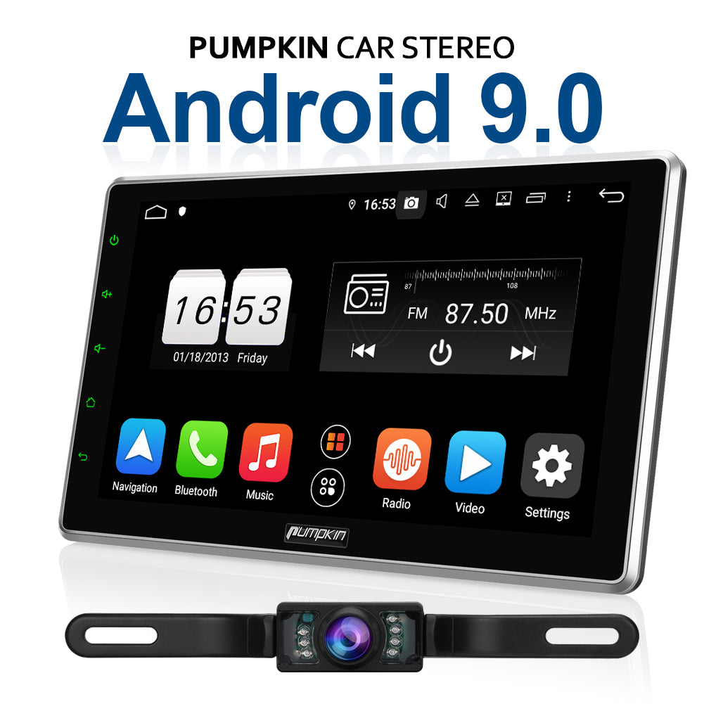 pumpkin 10.1 inch android 9.0 double din car stereo