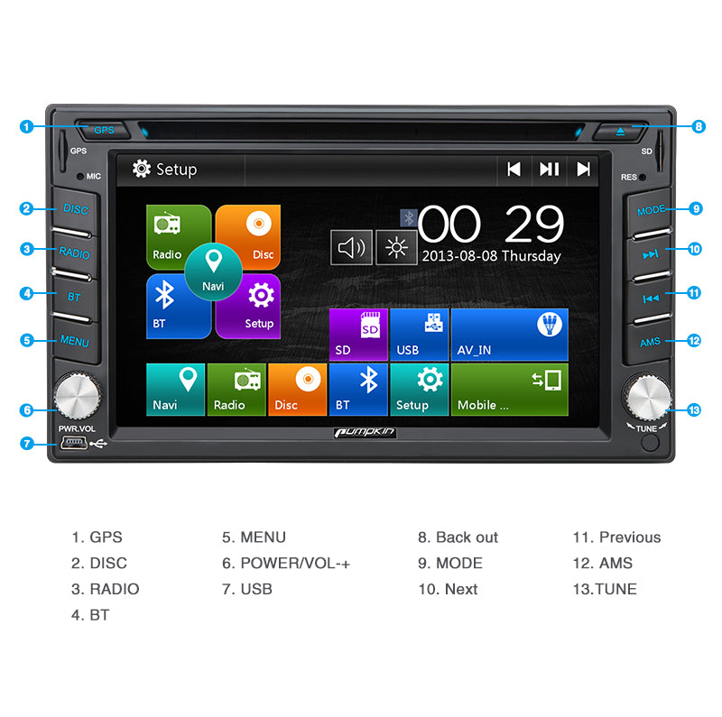 Pumpkin 6.2 Inch 2 DIN Universal Car Stereo with DVD Player, Built-In USB/SD Slot/GPS Navigation System
