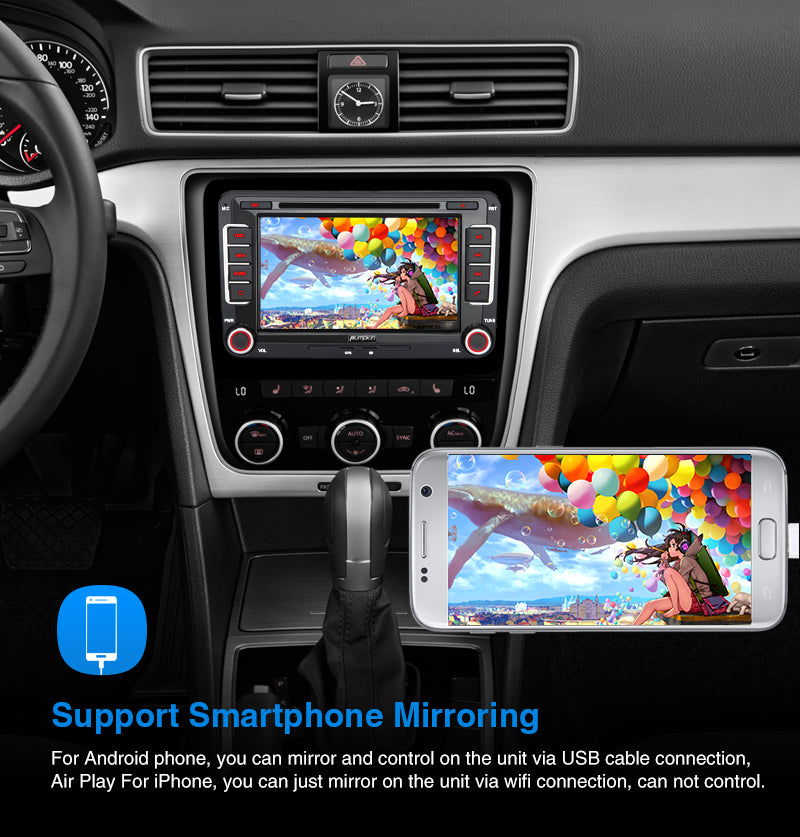 Pumpkin 7 Inch Double Din Android 10 Car Stereo with DVD Player Touch Screen for Ford Series