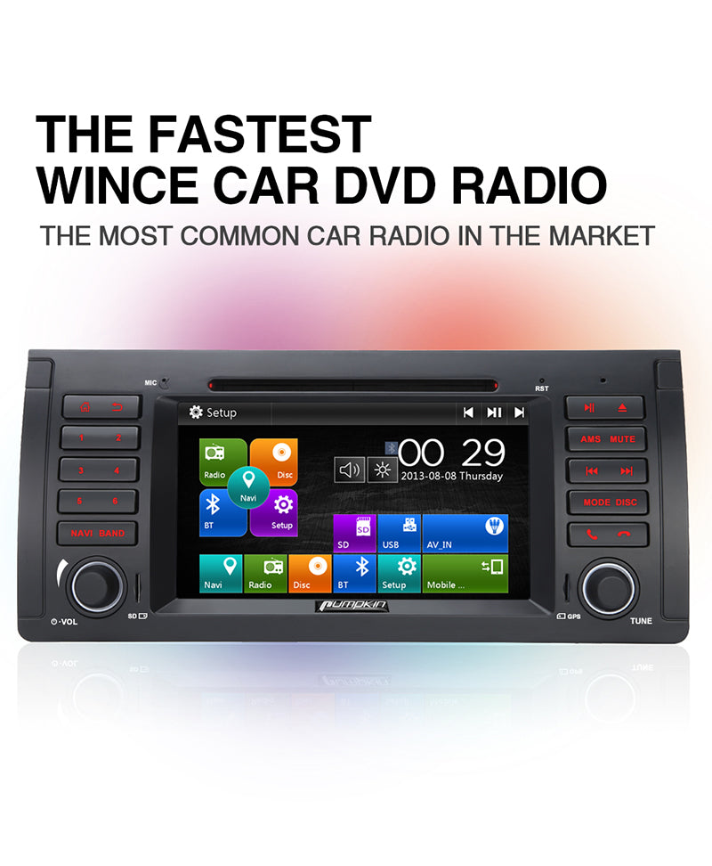 Pumpkin Single Din 7 inch WinCE 6.0 Car infotainment Stereo Radio for BMW 5/5X/E39/E53/M5