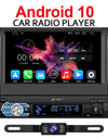 Android 10 Car Stereo 1 Din with GPS Reverse Camera Flip-out Screen