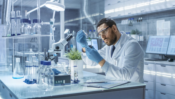 Scientist completing third party lab testing for CBD quality