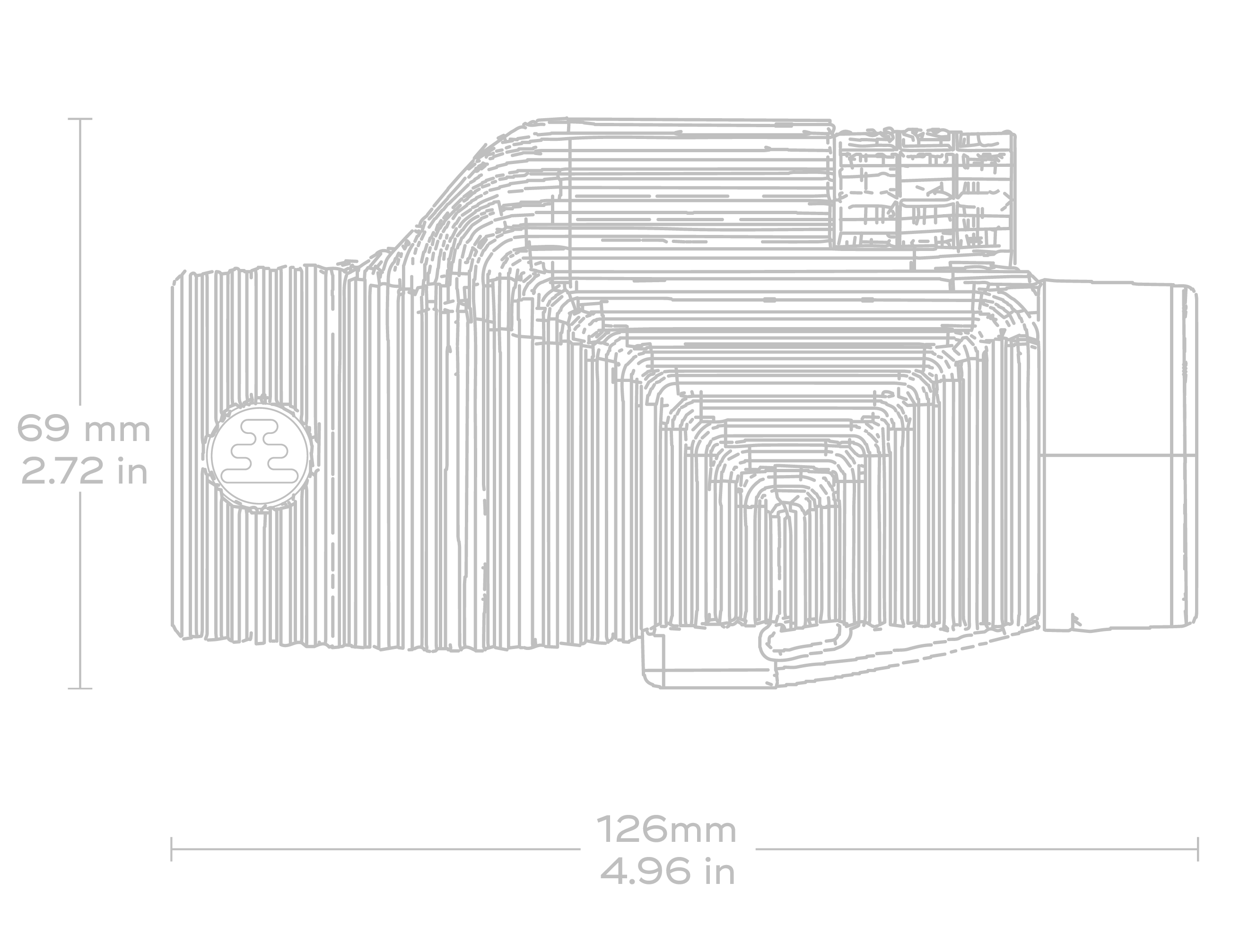 Technical wireframe rendering of Nocs binoculars from above