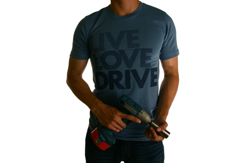 Live Love Drive Tee (Navy on Steel Blue)