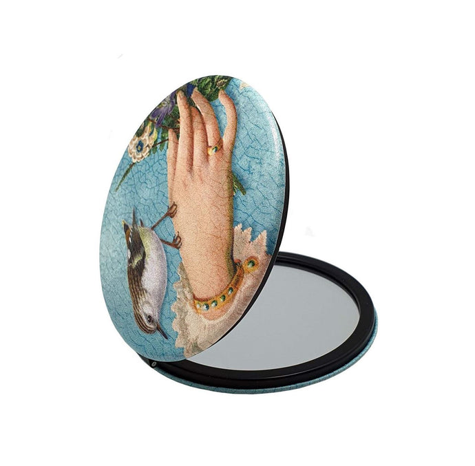 Compact Mirror Tanya Wolfkamp - Rifleman Bird with Hand - Isabel Harris