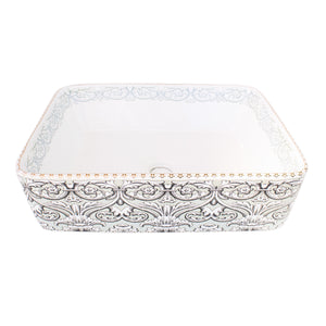 China Basin Rectangular  Grey and White Damask Pattern - Isabel Harris