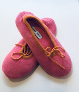 Cashmere Ballet Slippers Hot Pink with orange trim - Isabel Harris