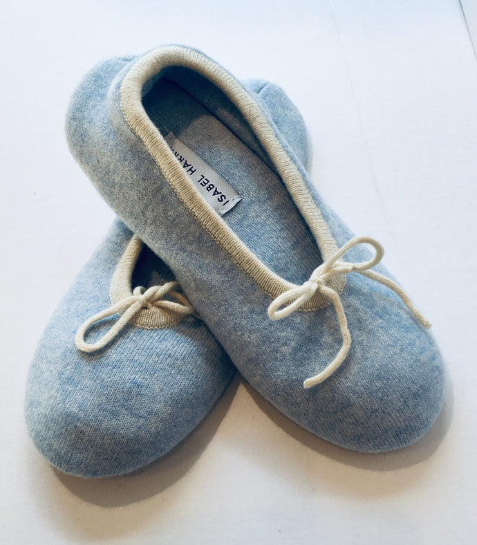 Cashmere Ballet Slippers Soft Blue with cream trim - Isabel Harris