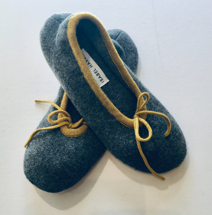 Cashmere Ballet Slippers Charcoal with mustard trim - Isabel Harris