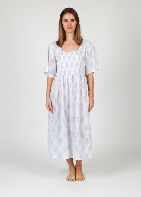 Cotton Smocked Nightie - Pale Blue Paisley