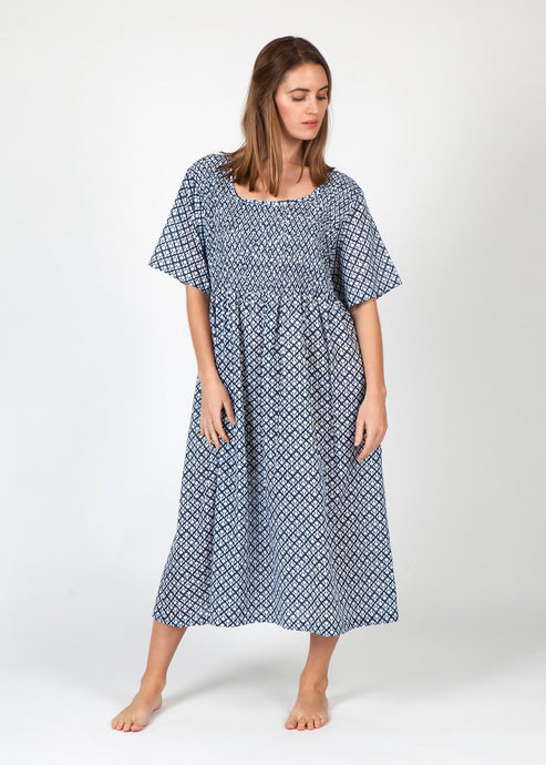 Cotton Smocked Nightie - Navy and White