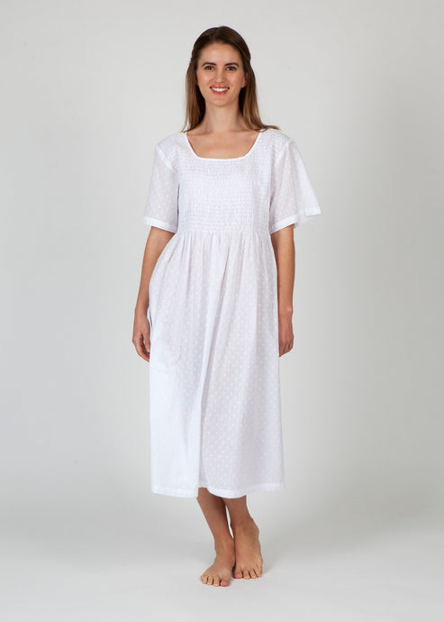 Cotton Smocked Nightie -White with Spot Tree Print - Isabel Harris