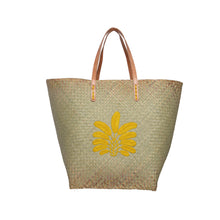 Woven Palm Bag with leather strap - Isabel Harris