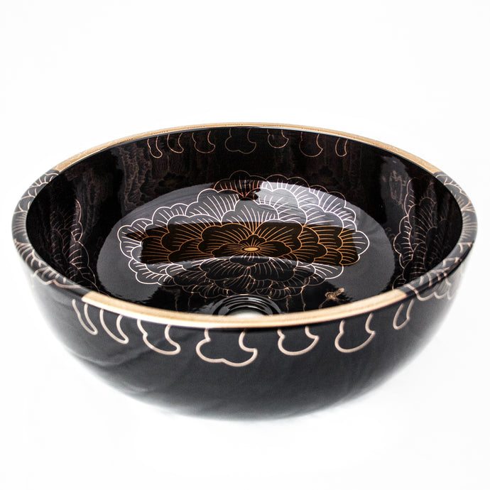 Decorative Sink - Black with large gold flowers #11