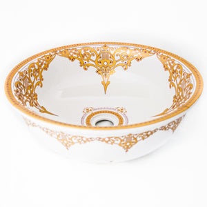 Decorative Sink  White with yellow/ gold filigree #12