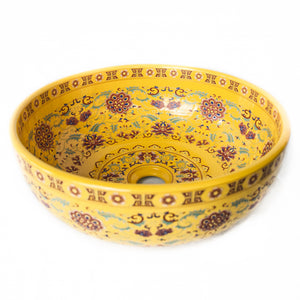 Decorative Sink - Yellow with Red floral #10