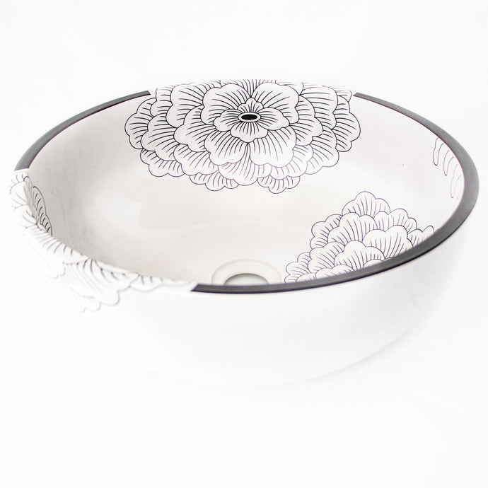 Decorative Sink -White with Large Black flowers #9 - Isabel Harris