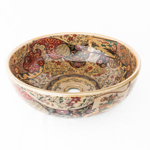 Decorative Sink  Caramel with Paisley red #14 - Isabel Harris