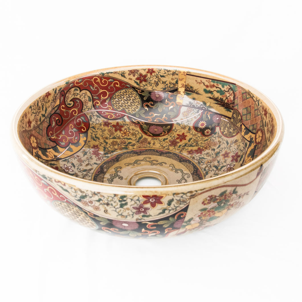 Decorative Sink  Caramel with Paisley red #14