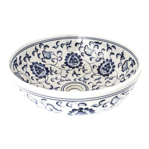 Decorative Sink - Blue and White Flowers #1